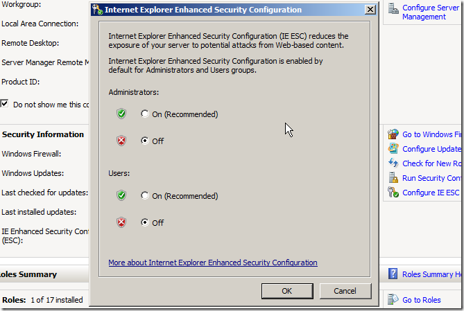 Turning IE Enhanced Security off